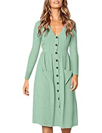 Longra Damen V-Ausschnitt Kleid Freizeit Langarm-Kleid Herbst Winterkleid  Boho Langes Kleid Vintage Knopf Kleid Damen High Waist… 77a265a1d8
