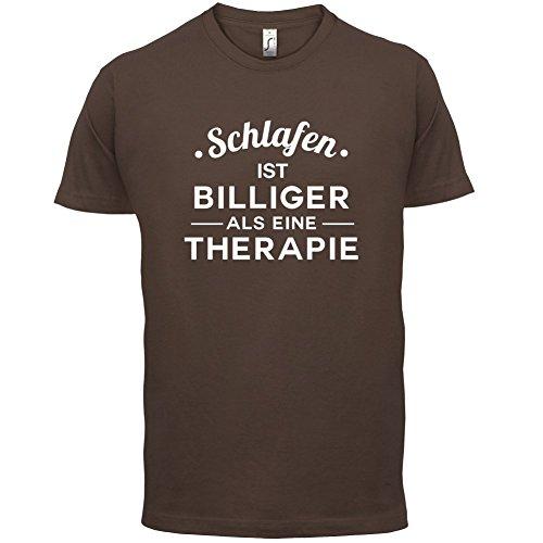 Schlafen ist billiger als eine Therapie - Herren T-Shirt - 13 Farben Schokobraun