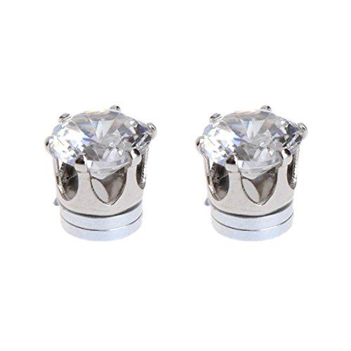ECMQS 1 Paar Magnetische Ohne Piercing Ohrstecker Ohrringe Schmuck Zirkon Für Männer Frauen (Weiß)