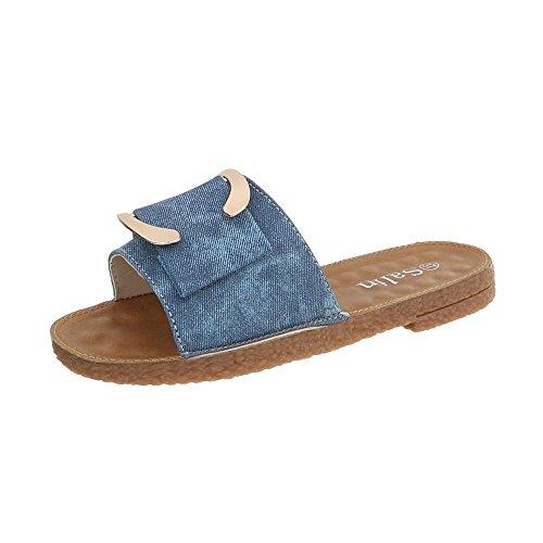 Kostüm Frauen Für Niedliche Große - Ital-Design Pantoletten Damen-Schuhe Blockabsatz Sandalen & Sandaletten Blau, Gr 37, 601-1-