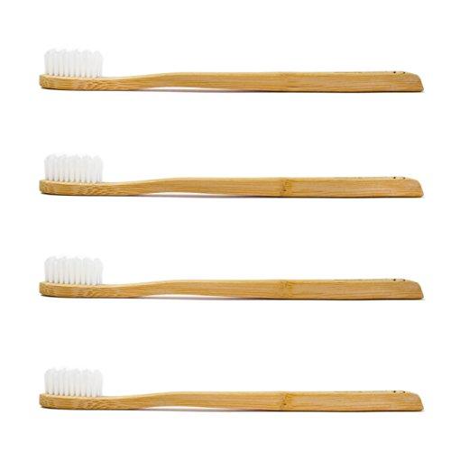 Planet Bamboo: 4er Pack Bambus Zahnbürsten (Erwachsene | Weiß | Medium), Massageborsten
