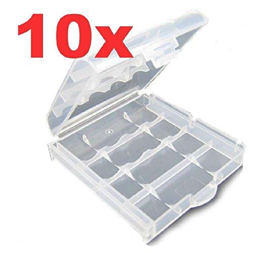 Preisvergleich Produktbild 10x Akkubox für AA Migno und AAA Micro Akkus Batteriebox Aufbewahrungsbox