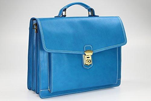 """BELLI """"Design Bag D"""" XXL ital. Leder Handtasche Business Bag Aktentasche Lehrertasche - Farbauswahl - 40x30x12 cm (B x H x T) Hellblau"""