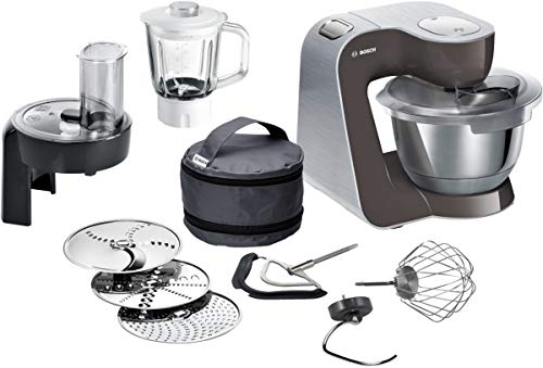 Bosch MUM5 CreationLine Premium Küchenmaschine MUM58A20, Profi-Patissierie Set, große Edelstahl-Schüssel (3,9l), Glas-Mixer, Durchlaufschnitzler, 1000 W, grau/silber