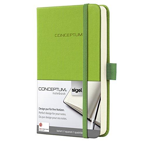SIGEL CO569 Notizbuch, ca. A6, kariert, Hardcover, hellgrün, Conceptum - viele Modelle (Ca Ged)