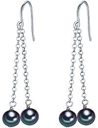 Valero Pearls Classic Collection Damen-Ohrhänger Hochwertige Süßwasser-Zuchtperlen in ca.  6-7 mm Potato pfauenblau 925 Sterling Silber       60840016