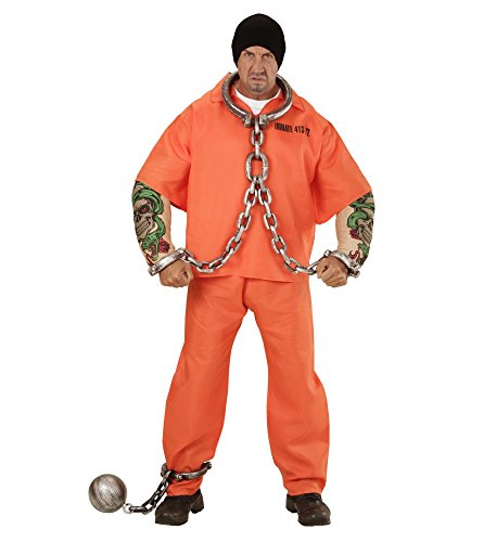 Herren-Kostüm - Tätowierter Häftling - Muskeln Sträfling Fatsuit Gefangener, Größe:L
