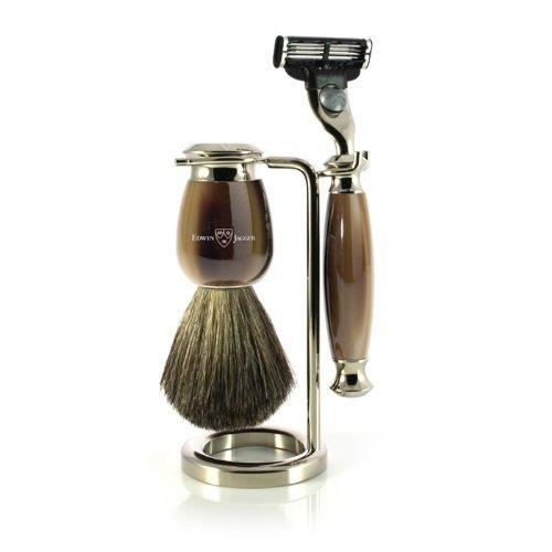Edwin Jagger - Set da barba con manici imitazione corno e nichel con rasoio, pennello da barba con setole di puro tasso e porta pennello/rasoio