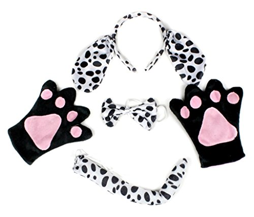 Petitebelle Dalmatians Dog Headband Bowtie Tail Gloves Costume Party for Adult  (One Size)