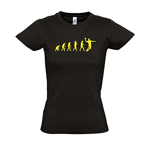 Damen T-Shirt - EVOLUTION - Handball Sport FUN KULT SHIRT S-XXL , Deep black - gelb , XL