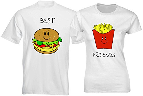 Couple Matching T Shirts Best Friends Burger Chips Funny Matching Couples Outfits -