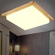 Luz de techo $ LED Lámpara de techo Lámpara de techo para comedor Baño Dormitorio Recibidor Cocina Cuadrada De madera 32 * 32cm Led [Clase de eficiencia energética A +++]