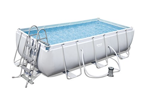 Bestway Power Steel Stahlrahmenpool-Set mit Filterpumpe, Rectangular, 6478 L, grau, 404 x 201 x 100 cm