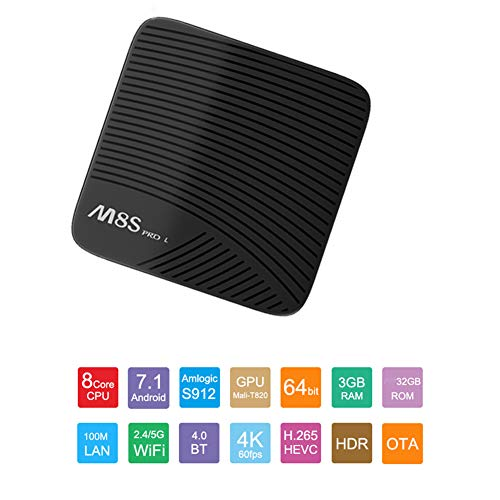 M8S Pro L Android 7.1.2 Tv Box mit Bluetooth Remote Ultra 4K HD Smart TV Box 3GB RAM 32GB ROM Bluetooth 4.1 Amlogic S912 Octa core 64 Bits und Support Dual Band WiFi 2.4GHz/5GHz H.265