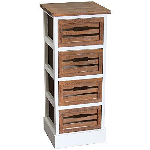 nxtbuy Schubladenschrank aus Holz in Weiß/Braun 30 x 28 x 73 cm - Vintage Schränkchen/Korbregal mit 4 Schubladen - Kommodenschrank aus Echtholz -