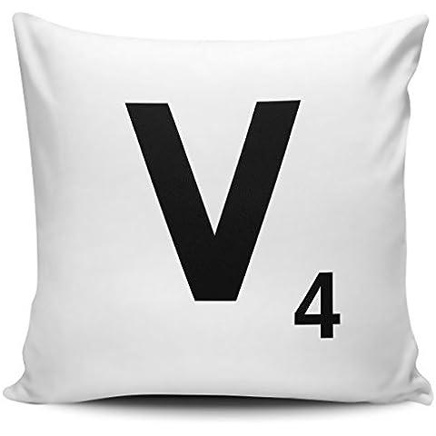 Alfabeto lettera Scrabble–Federa per cuscino lettera V con interno/inserti