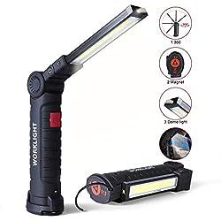 Lampe de Travail LED 5 Modes - Lampe Torche Baladeuse LED 800LM, Lampe d'Inspection, Réparation Rechargeable, Convient aux travaux de réparation automobile