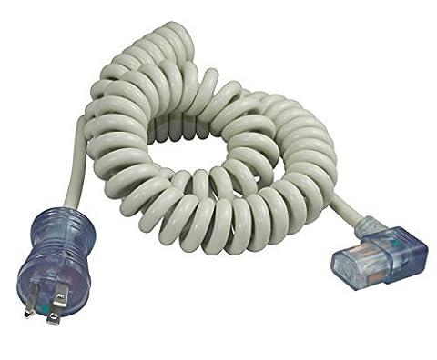 Conntek 10-Amp Hospital Grade Coiled Cord to Right AngleIEC C13 Power Supply Cord, 8 - 11-Feet by Conntek