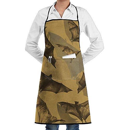 lbare Latzschürze mit Tasche, Bib Schürze with Bat Pattern Durable Cooking Kitchen Schürzes Can Embroidery Cooking, Baking, Crafting, Gardening, BBQ ()