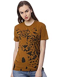 Wolfpack Leopard Graphic Greenish Brown Round Neck Half Sleeves 100% Cotton Girls/Womens T Shirts for Animal Lovers
