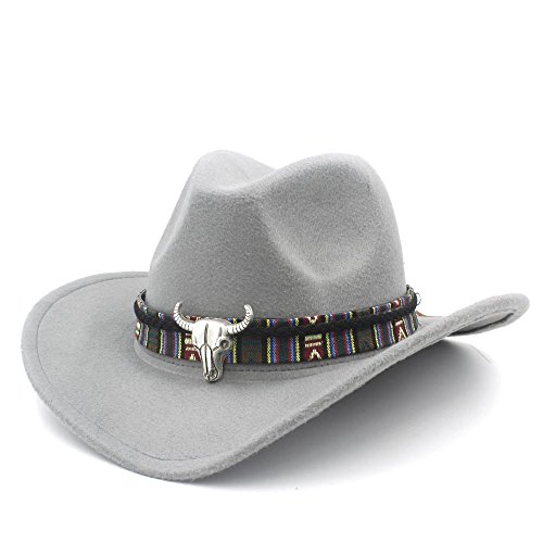 IWGR Frauen Männer Western Cowboy Hut Dame Jazz Cowgirl Sombrero Caps Mode Hut (Farbe : Grau, Größe : 56-58cm)