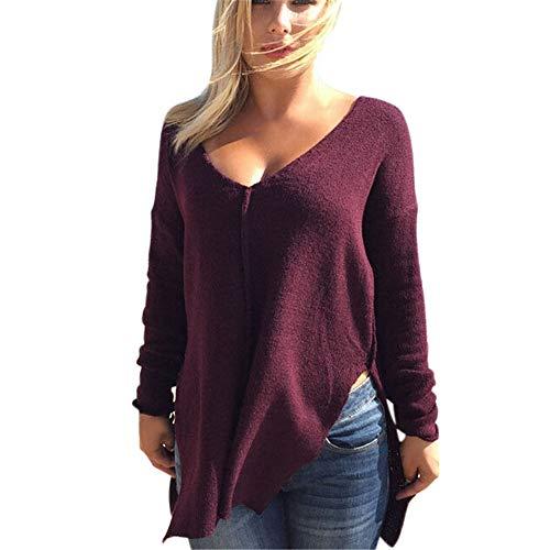 d13c9b55590944 Luckycat - Pullover mit U-Boot-Ausschnitt Frauen Lose Pullover Stricken  Blusenhülse Plus Größe