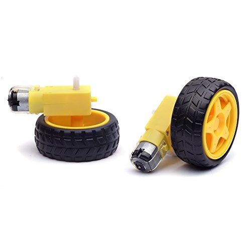 cylewet 2pcs rueda neumático de plástico con doble eje motor de engranaje para Smart Car Robot Arduino (Pack de 2) clw1059
