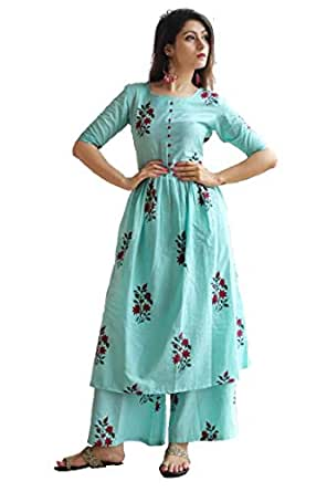 GoSriKi Women's Cotton Straight Salwar Suit Set (Avenue-Kurti-Plazzo-S_Blue_Small)