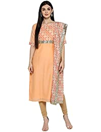 Peach Chanderi Kurta Dupatta Set