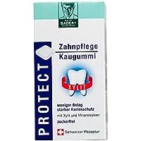 BADERs PROTECT Zahnpflege Kaugummi aus der Apotheke. Weniger Belag, starker Kariesschutz. Zuckerfrei mit 100% Xylit. Öko-Test GUT. 2 Blister mit je 8 Kaugummi-Quadraten. Pharmazentralnummer: 04451478