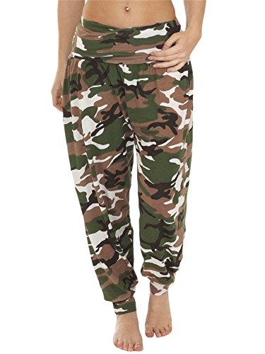 Love My Fashions® Damen Alibaba Harem Printed Hose Ausgebeult Gummizug Causal Taille Knöchel Manschette Kausal Hareem Trousers Übergröße