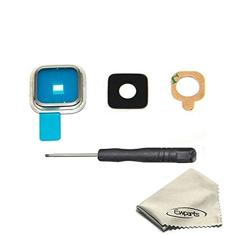 EWPARTS for Samsung Galaxy S5 Kamera Glas Objektiv Abdeckung mit Klebstoff Aufkleber + Werkzeuge (silber)