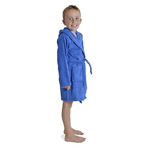CityComfort albornoz, para niños 100% algodón, 7-13 años 9-10 años, azul real