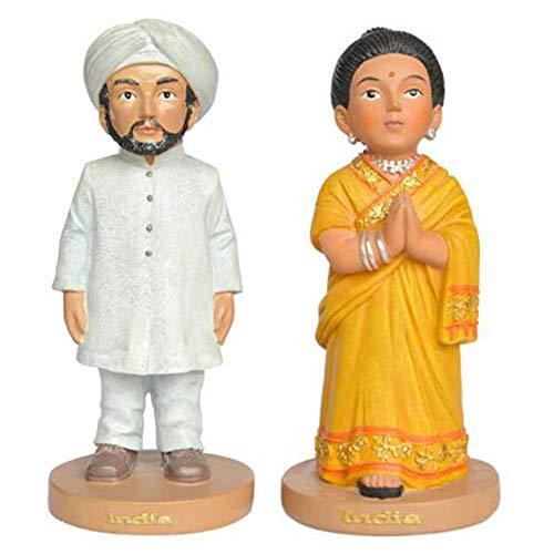 Indische Kostüm Kreative - DDCYY Haupt Dekorationen, Indische Nationale KostüM Skulptur, Hand Gezeichnete Charakter Skulptur, Paarstatuen, Mini Desktopan Sammlung (6.8x6.8x15cm)