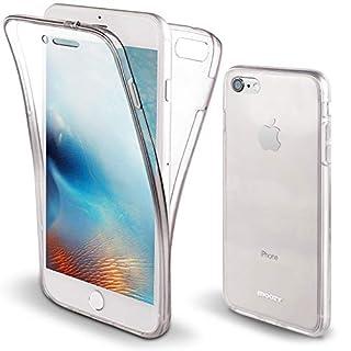 Moozy 360 Grad Hülle für iPhone 8, iPhone 7 - Vorne und Hinten Transparenter TPU Ultra Dünn Weiche Silikon Handyhülle Case