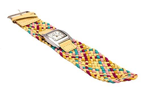 Armbanduhr AU03 mit buntem geflochtenem Armband und Ziffernblatt von Quarz, Modeschmuck, von Kobert-Goods