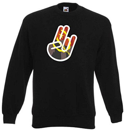 Black Dragon - Sweatshirt Herren & Damen schwarz - S - Fruit of The Loom - Bedruckt - Shocker Hand - Angola - Fasching Party Geschenk Funshirt -