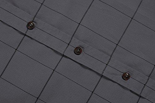 Coofandy Chemise Homme à Carreaux Manche Longue Coton Casual Col Italien Taille S-XXXL Gris (Anthracite)