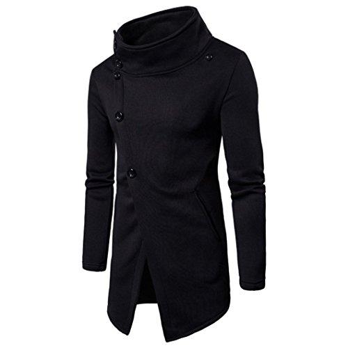 Hansee Männer Sweatshirt Kleidung Langarm Solide Button Pullover Top T Outwear (L, Schwarz) (Solide Französisch-manschette)