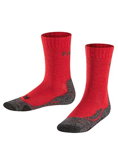 Wolle Knie Hohe Socken (FALKE TK2 Kinder Trekkingsocken - 1 Paar - Merinowolle-Mix, Wandersocken mit mittelstarker Polsterung; Gr. 23-26, rot, Sportsocken Jungen Mädchen)