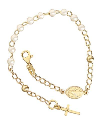 Rosenkranz Armband Silber 925 Gelbgold vergoldet mit weißen Perlen Kreuz Maria Hobra-Gold