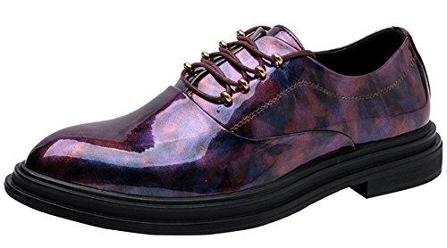 MYXUA Herren Derby Schuhe Persönlichkeit Business Schuhe Kleid Schuhe Mode Tuxedo Oxford Kleid Schuhe,Purple-42EU Oxford Tuxedo