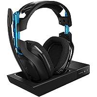 ASTRO Gaming A50 - Auriculares con micrófono inalámbricos + estación base con sonido envolvente Dolby 7.1, compatibles con PlayStation 4, PC, Mac, negro/azul