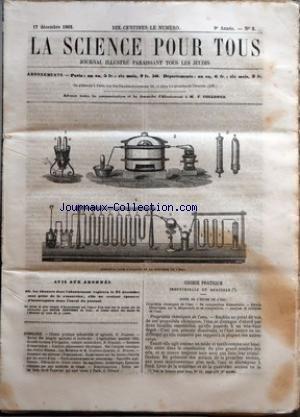 SCIENCE POUR TOUS (LA) [No 3] du 17/12/1863 - CHIMIE PRATIQUE INDUSTRIELLE ET AGRICOLE PAR G. JOUANNE - REVUE DES PROGRES AGRICOLES ET HORTICOLES - L'AGRICULTURE PENDANT 1863, GRANDS TRAVAUX D'IRRIGATION, CULTURE MARAICHERE PAR D. NOUCHET - SCIENCES D'OBSERVATION - CURIEUX PHENOMENES ELECTRIQUES, SUR L'ORIGINE COSMIQUE DES ETOILES FILANTES, LES METEORES ET M. COULVIER-GRAVIER PAR G. BRESSON - ACADEMIE DES SCIENCES - NOMINATIONS - EXPERIENCES SUR LES LIMONS CHARRIES PAR LES COURS D'EAU par Collectif