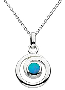 Dew Sterling Silver and Blue Synthetic Opal Spiral Necklace 45.7cm 98007BSO