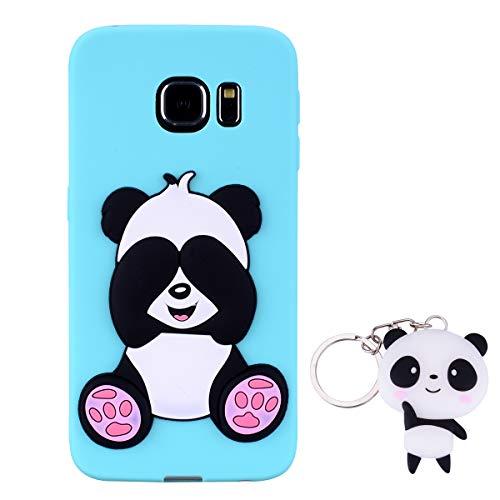 HopMore Panda Funda para Samsung Galaxy S6 Edge Silicona con Diseño 3D Divertidas Carcasa TPU Ultrafina Case Antigolpes Caso Protección Cover Dibujos Animados Gracioso con Llavero - Verde