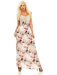 5495 Fashion4Young Damen Maxikleid Sommerkleid Gesmokt Häkeltop Langes Kleid Geblümt