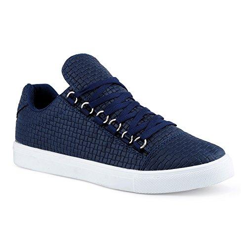 FiveSix Herren Sneaker Sportschuhe Schnürschuhe Muster Freizeitschuhe Low Top Schuhe Dunkelblau EU - Nike Yeezy 1