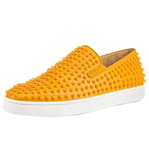 Cuckoo Slip per Uomo su Nero Mocassini con I Punti Fashion Sneakers Arancione chiaro
