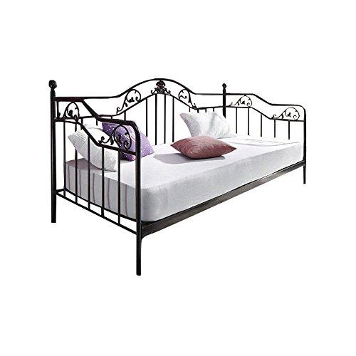 Mendler Bett H134, Gästebett Day Bed, Metall pulverbeschichtet, mit Lattenrost, schwarz